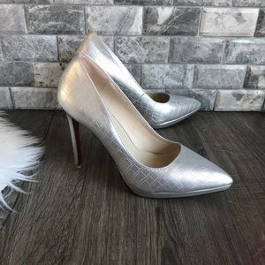 Aiko shoes silver metallic leather pointed pumps